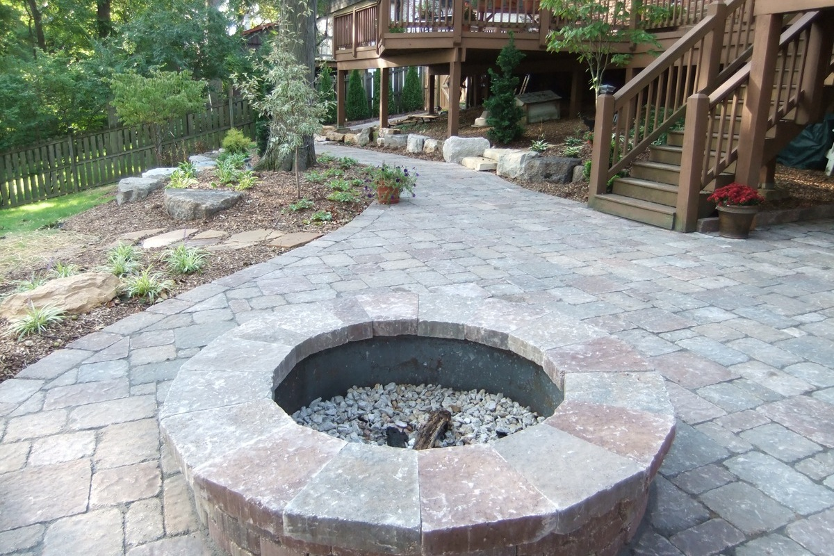 Captivating Stone Patio And Fire Pit By Frisella Nursery