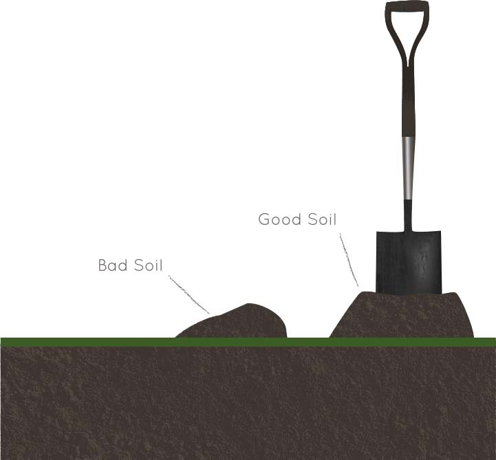 Illustration of a shovel and a hole