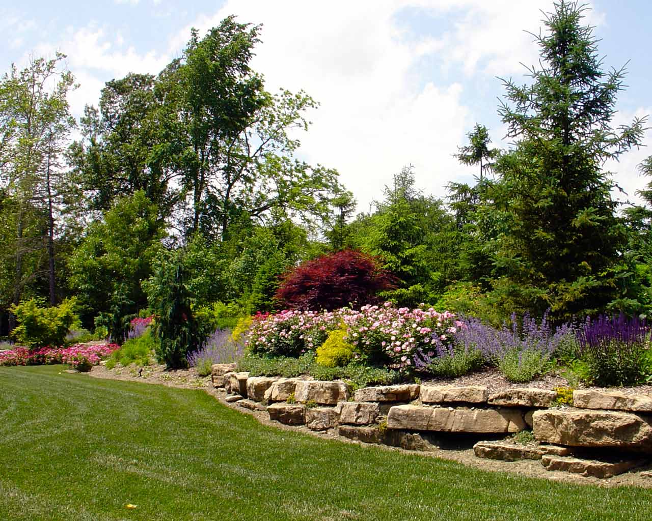 Landscape Screen and Stone Retaining Wall
